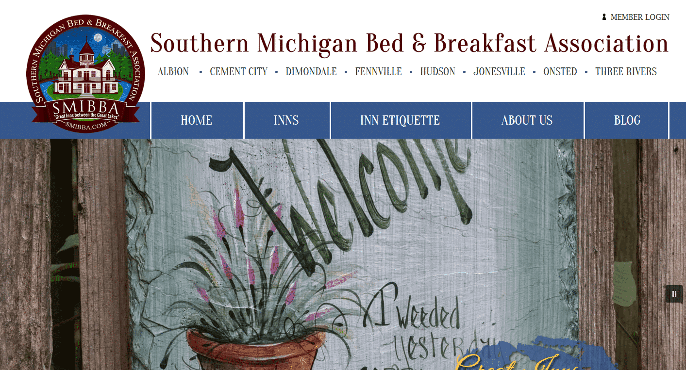 Home page of the Southern Michigan Inns association website