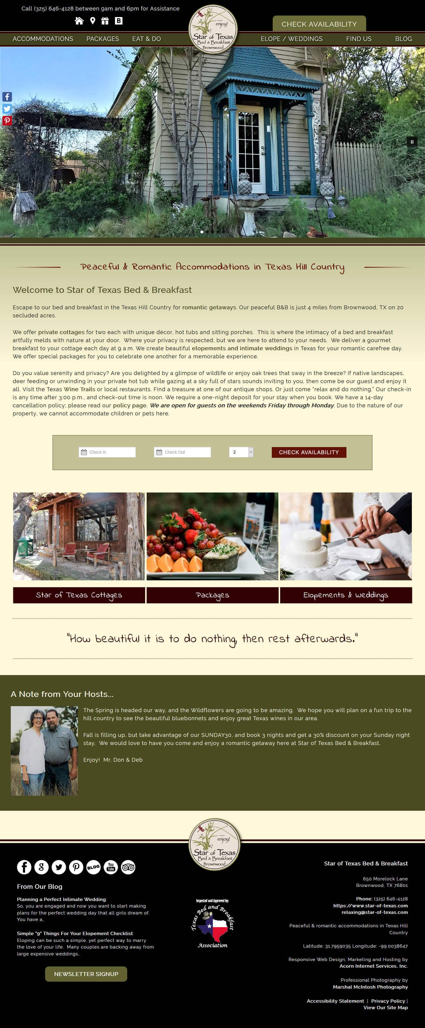 Home page of Star of Texas Bed & Breakfast website