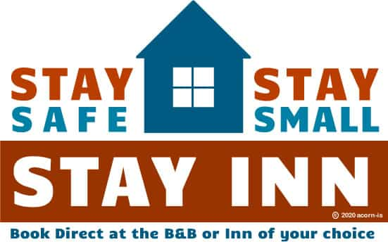 stay safe stay small rust and blue logo with house