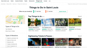 "Scrrenshot of TripAdvisor ""Things to Do"" screen"
