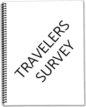 Notebook with Travelers Survey written on page