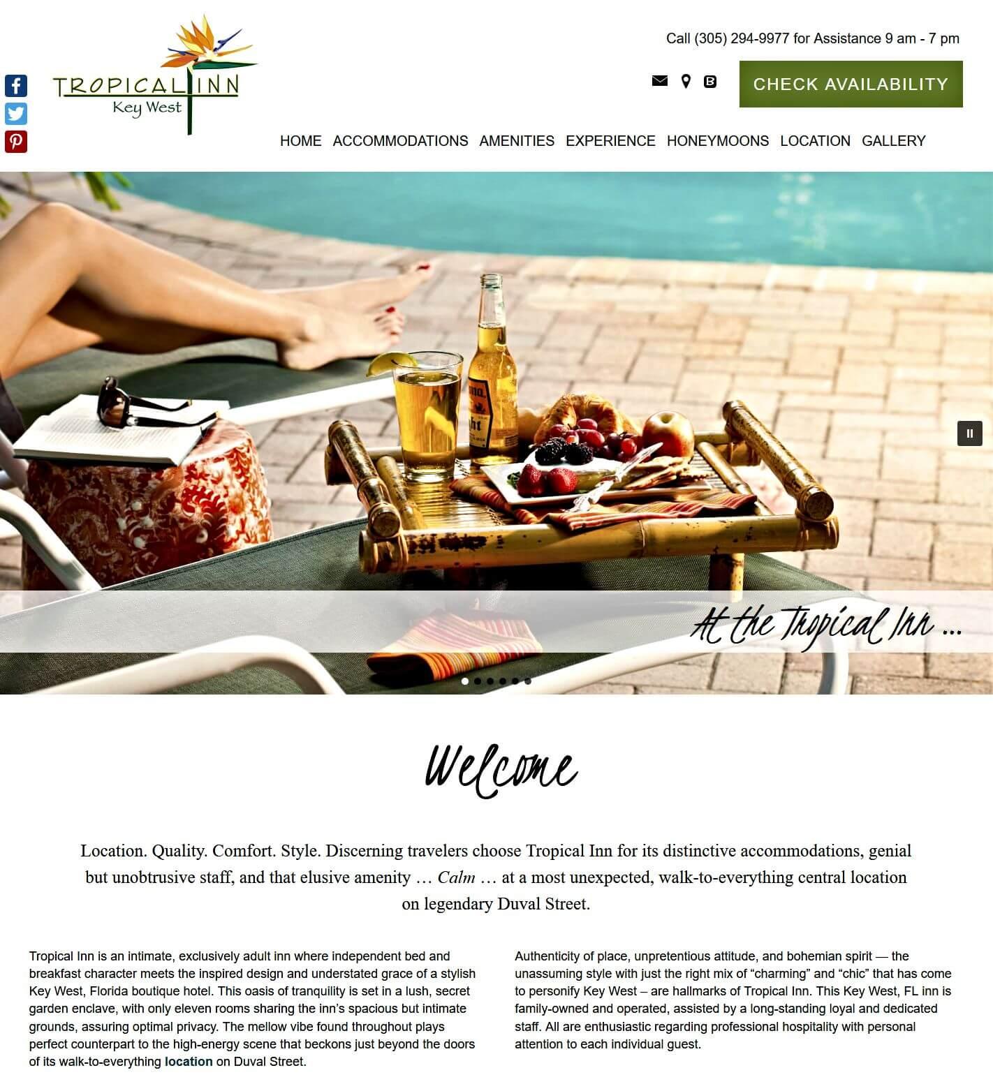 Tropical Inn homepage screencap
