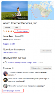 Google Knowledge Graph Image with Reviews Highlighted
