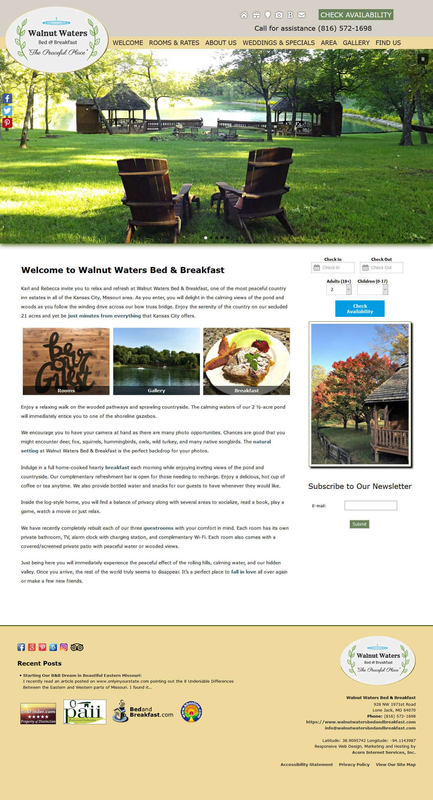 Walnut Waters Bed & Breakfast website home page