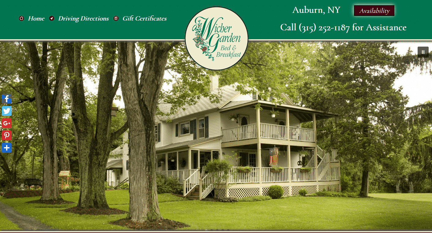 home page of A Wicher Garden Bed & Breakfast
