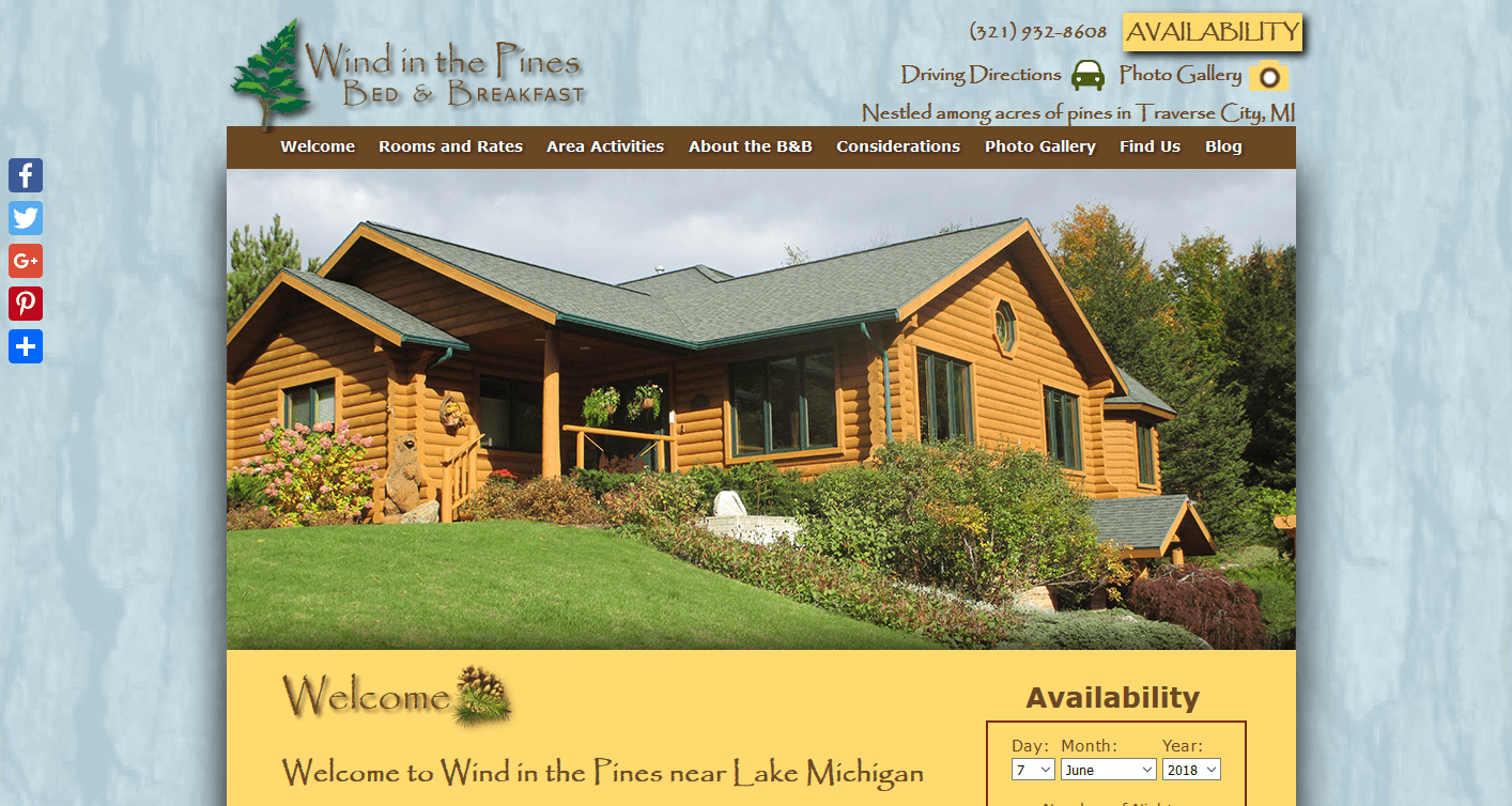 Screenshot of website home page for Wind in the Pines Bed and Breakfast in Traverse City, MI