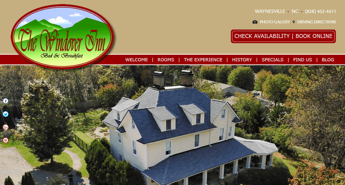 Screenshot of website home page for The Windover Inn Bed & Breakfast in Waynesville, NC