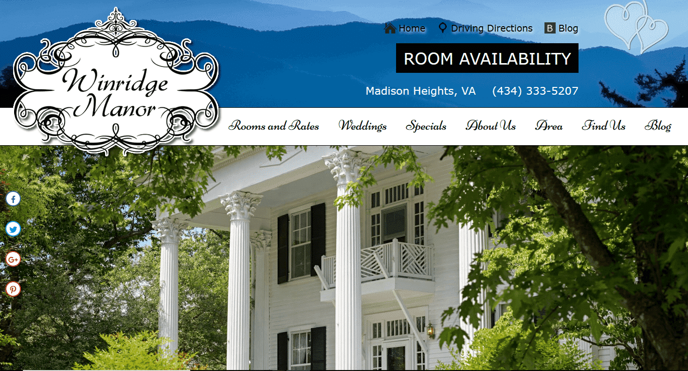 Screenshot of website home page for Winridge Manor in Madison Heights, VA